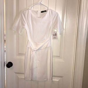 Ivory short sleeve shirt dress with waist tie